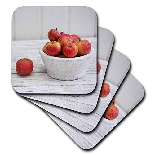 (3dRose Andrea Haase Christmas Photography - Winterly Still Life Photography Of Bowls With Red Apple Across White - set of 8 Ceramic Tile Coasters (cst_318590_4))