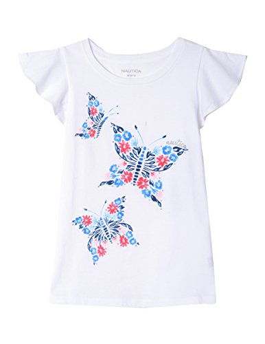 Nautica Girls' Little Short Sleeve Graphic Tee, Butterfly White, 5
