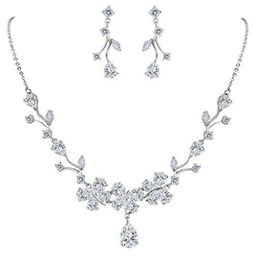 Floral Pendant Necklace Set - EVER FAITH Women's CZ Butterfly Tear Drop Floral Filigree Pendant Necklace Pierced Earrings Set Clear Silver-Tone