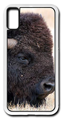 (iPhone Xs Case Bison Buffalo American Head Animal Mammal Customizable by TYD Designs in White Plastic)