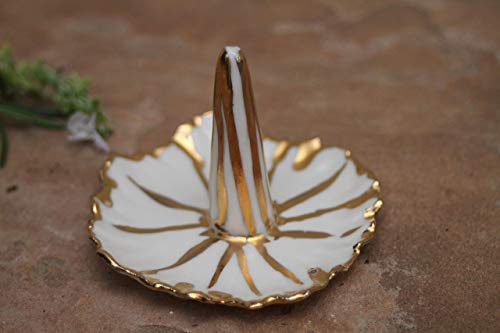 - Striped White and Gold Ring Dish, handmade pottery jewelry holder