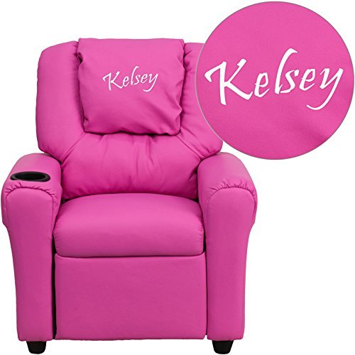 Flash Furniture Personalized Hot Vinyl Kids Recliner with Cup Holder and Headrest, Pink