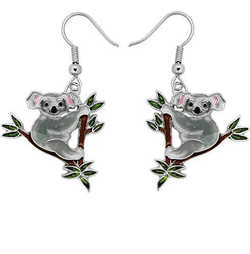 DianaL Boutique Silvertone Koala Teddy Bear Earrings Dangle Gift Boxed Fashion Jewelry