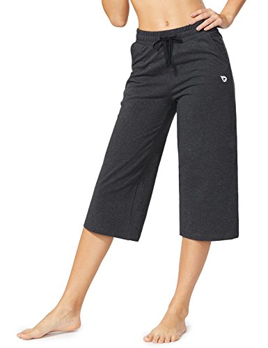 BALEAF Women's Active Yoga Lounge Capri Pants with Pockets Charcoal Size XXL