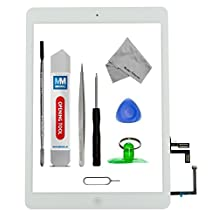 Digitizer for iPad AIR A1474 A1475 A1476 White Touch Screen Display Glass assembly - Incl Home Button and flex + Camera Holder + Pre Installed  adhesive Stickers Tool kit