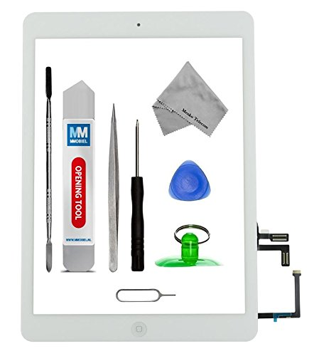 Lcd Screen Bezel (MMOBIEL Digitizer repair Kit for IPAD Air (White) Touch Screen Front Display Assembly Incl Home Button flex Camera Holder and Pre Installed Adhesives with Tool kit)