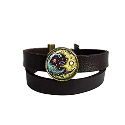 LooPoP Vintage Punk Dark Brown Leather Bracelet Terrible Monster Belt Wrap Cuff Bangle Adjustable