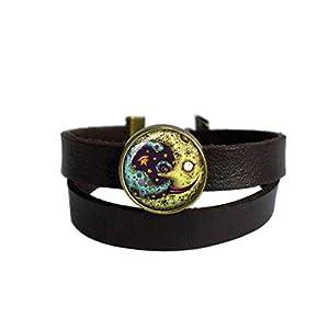 LooPoP Vintage Punk Dark Brown Leather Bracelet Terrible Monster Belt Wrap Cuff Bangle Adjustable