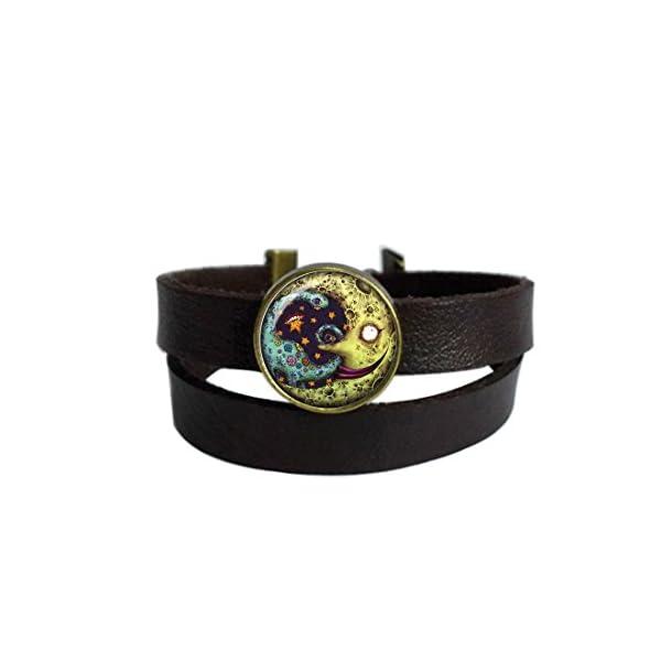 LooPoP Vintage Punk Dark Brown Leather Bracelet Terrible Monster Belt Wrap Cuff Bangle Adjustable 3
