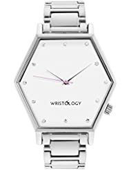 WRISTOLOGY Ellie Womens Hexagon Crystal Silver Boyfriend Watch Metal Link Strap