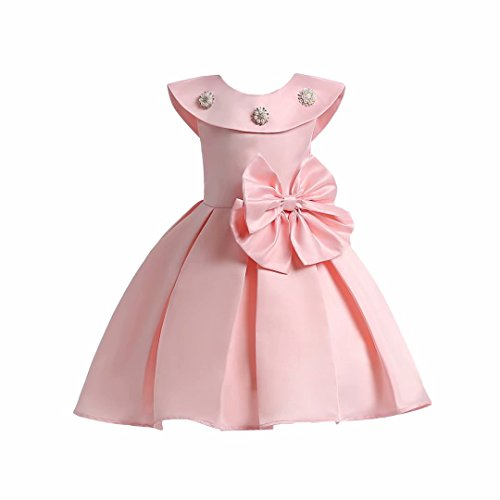 AYOMIS Litter Big Girl Flower Dress Princess Bow Party Wedding Tutu Gowns(Pink,4-5Y) for $<!--$12.99-->