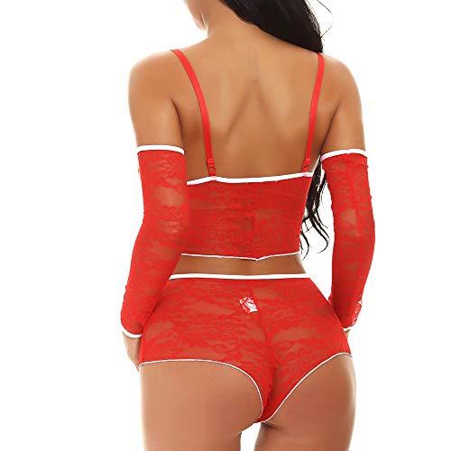 intimo La Intima Per Da Rosso Elecenty Di Sexy Completo Donna Natale Mussola Biancheria Tentazione Lingerie BpBPqzI
