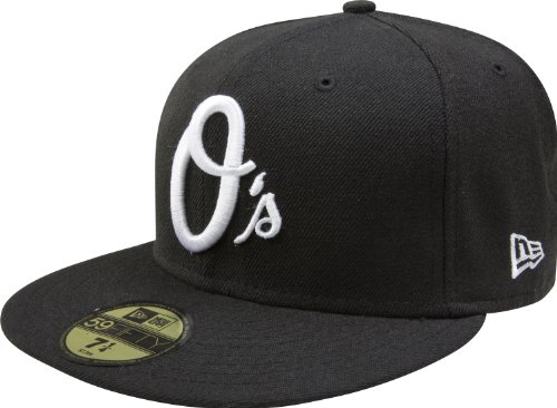 MLB Baltimore Orioles Black with White 59FIFTY Fitted Cap, 6 7/8