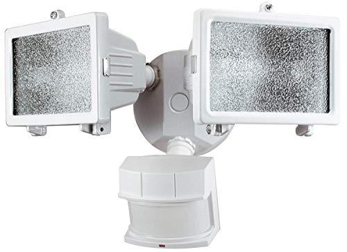 Heathco HZ-5512-WH 300W White Quartz Halogen Motion Sensing Twin Security Light (Lighting Halogen Security Quartz)