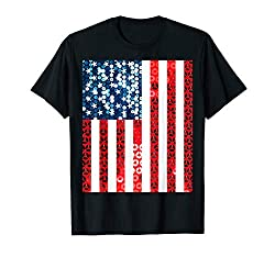Vertical Sequin American Flag T-shirt