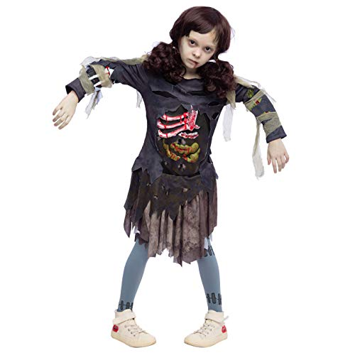 Zombie Teen Costume (Scary Halloween Zombie Girl Living Dead Monster Child Costume for Girls (Small 5 - 7))