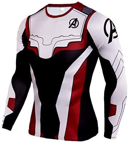 GYHS フィットネスMMAコンプレッションシャツ男性アニメボディービル長袖ワークアウト3DスーパーマンパニッシャーTシャツTシャツトップス (色 : TC80, サイズ : Aisan 4XL)