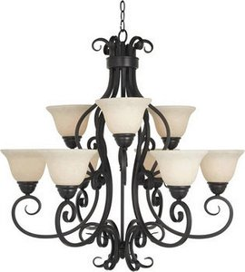 Maxim Lighting 12207FIOI Nine Light Frosted Ivory Glass Up Chandelier, Oil Rubbed Bronze