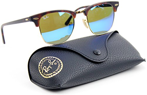 Ray Ban RB3016 1145/17 51mm Clubmaster Sunglasses Havana / Gray Mirror Blue - Clubmaster Ban Ray Vintage