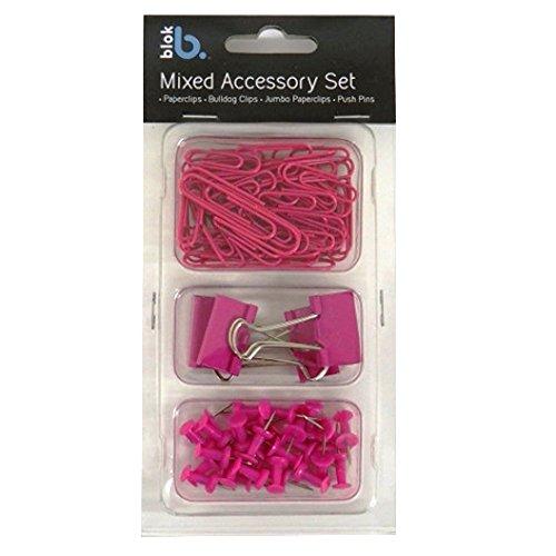 Set di accessori di cancelleria–Anker rosa–piccolo e grande per graffette, bulldog clip, Push pins Bloc