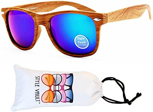 [W1000-vp Style Vault Wayfarer 80s Sunglasses (S1982V Woody Brown-Emerald Mirror, mirrored)] (80s Style Men)