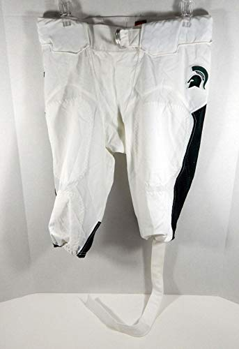 College Pant - Michigan State Spartans Football Game Issued White Pants W/Belt Size 36 - College Game Used