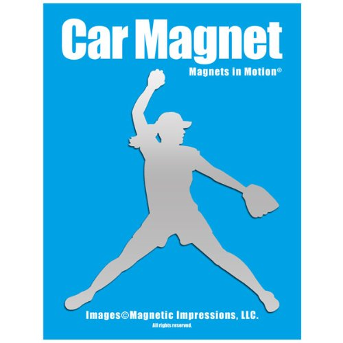Softball Pitcher Car Magnet Chrome