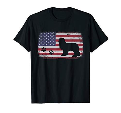 Vintage American Flag Bearded Collie Dog T-Shirt