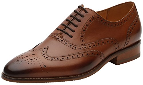 Handcrafted Brown Wingtip (Dapper Shoes Co. Handcrafted Genuine Leather Men's Classic Brogue Oxford Wing-Tip Lace up Leather Lined Perforated Dress Oxfords Shoes US 12-12.5 Tan)