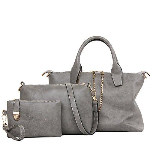 QZUnique Women's PU Frosted Leather 3 Pieces Set Bags Casual Tote Handbag Cross Body Shoulder-bag Purse Grey