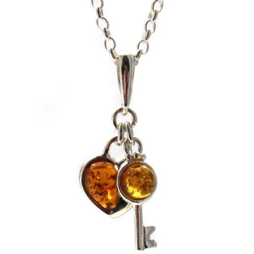 Honey Amber Sterling Silver Key and Heart Pendant Rolo Chain 18