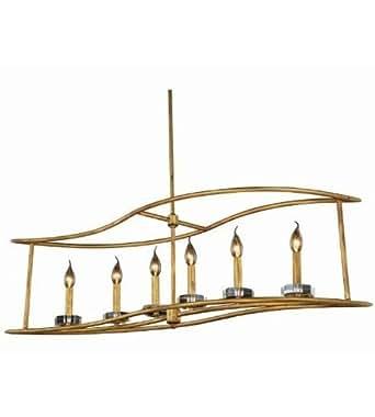 Pendants 6 Light With Golden Iron Finish E12 Bulb 14 inch 240 Watts - World of Classic