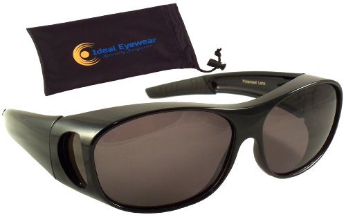 b650b3573a Sun Shield Fit Over Sunglasses with Polarized Lenses and Spring Hinges -  Fit Over Prescription Glasses (Black Frame   Smoke Lens with Case