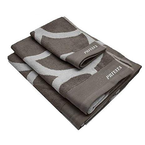 Privata Home - Set 3 toallas 450 grs. gris/blanca HOTXPV012: Amazon.es: Hogar