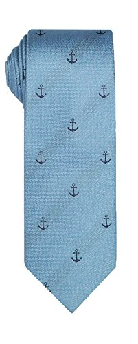 SPREZZA Men's Anchor Conversational Light Blue Tie Classic 2.75 inch Slim Silk Cotton Necktie -