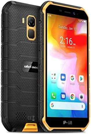 Móvil Resistente (2020), Ulefone Armor X7 Android 10 4G Teléfono Móviles Antigolpes IP68, Batería 4000 mAh, Fotografía Submarina, Quad-Core 2GB+16GB, Dual SIM/GPS/NFC, Desbloqueo Facial Naranja