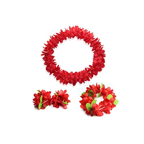 JSSHI Lush Hawaiian Headpiece,Hawaiian Flower Leis Jumbo Necklace Bracelets Headband Set Leaf Hawaiian Luau Party Decoration Supplies (Green Leaves)(Red Set)