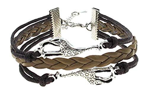 Best Wing Jewelry Giraffe Brown Cord Braid Synthetic-Leather Bracelets (Adjustable)
