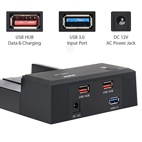 atolla Lay-Flat SATA to USB 3.0 HDD Enclosure External Hard Drive Docking Station for 2.5 or 3.5 inch HDD/SSD with 2 Data/Charging USB Ports (Supports UASP and Drives 4TB) by Atolla (Image #2)