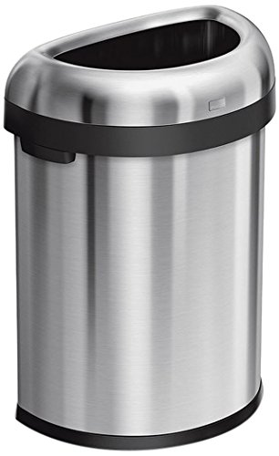 (simplehuman 80 Liter / 21.1 Gallon Commercial Heavy-Gauge Stainless Steel Extra-Large Semi-Round Open Trash Can, Brushed Stainless Steel, ADA-Compliant)