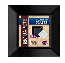 Squarete 8'' inch Black Appetizer - Salad Square Party Plates Hard Plastic Elegant Disposable 10 Square Salad Plates Per Package