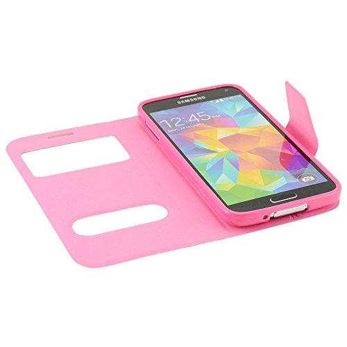 N53- Pink Bookstyle Flip Cover mit Sichtfernster für Samsung Galaxy S5 G900 i9600 Schutzhülle Smart Touch Hülle Smartphone Schale Handytasche Etui Case