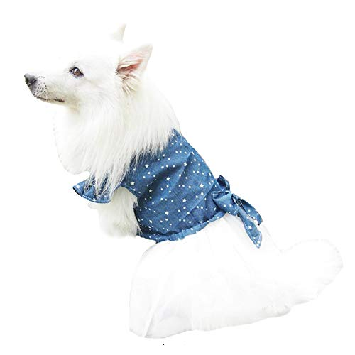 Image of FLAdorepet Polka Dot Big Large Dog Princess Dress Tutu Skirt Golden Retriever Pitbull Summer Dog Clothes Hoodie Costume (XXL, Blue)