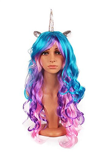 [YallFairy Womens Girls Assortment Of Unicorn Wigs And Headpieces (color A)] (Unicorn Girl Costumes)