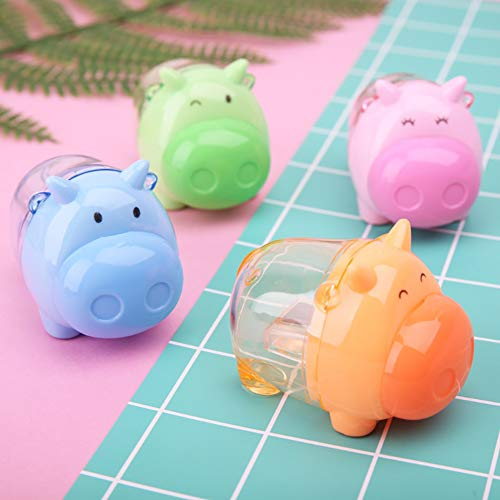 NUOMI Set of 4 Kids Manual Pencil Sharpener, Cute Animal Pencil Sharpeners with Cover, Creative School Office Stationery, Random Color, Random Shape -
