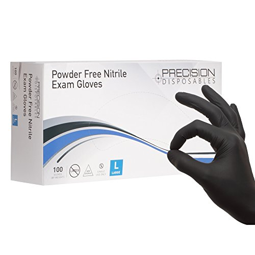Precision Disposables Black Nitrile Exam Gloves Size Large 5 mil Thickness Powder-Free Non-Latex Fingertip-Textured Medical Grade Food Safe Examination Gloves (Pack of 100)
