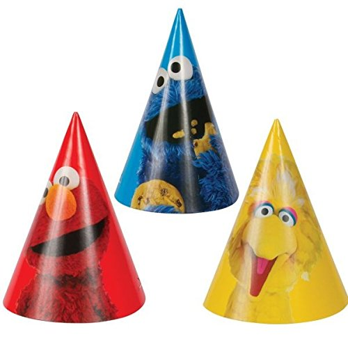 Sesame Street Birthday Decoration Ideas (Amscan Sesame Street Cone Hats, Multicolor)
