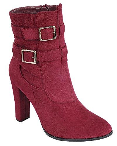 Cambridge Select Womens Strappy Buckle Chunky Wrapped Heel Ankle Bootie Wine u8V5JXoJou