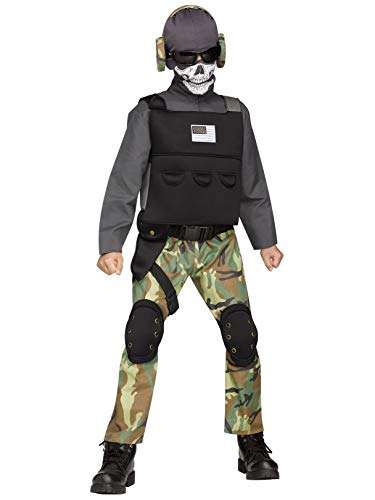 Fun World Big Boy's Med/Skull Soldier Chld Cstm Childrens Costume, Multi, Medium -