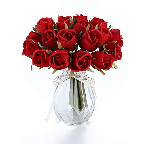 T4U 36 Heads Artificial Flowers Silk Faux Flowers Bouquet Fake Roses with Stems in Bulk for Flowers Arrangement Wedding Bouquet Table Centerpieces Home Garden Party Decoration (Red,18pcs/Pack)